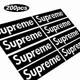 (US) 200 pcs Supreme Sticker Black Waterproof and Oil Proof Sticker Skateboarding Sticker, Laptop Sticker, Phone case, Backpack Sticker, Car Sticker (Black)