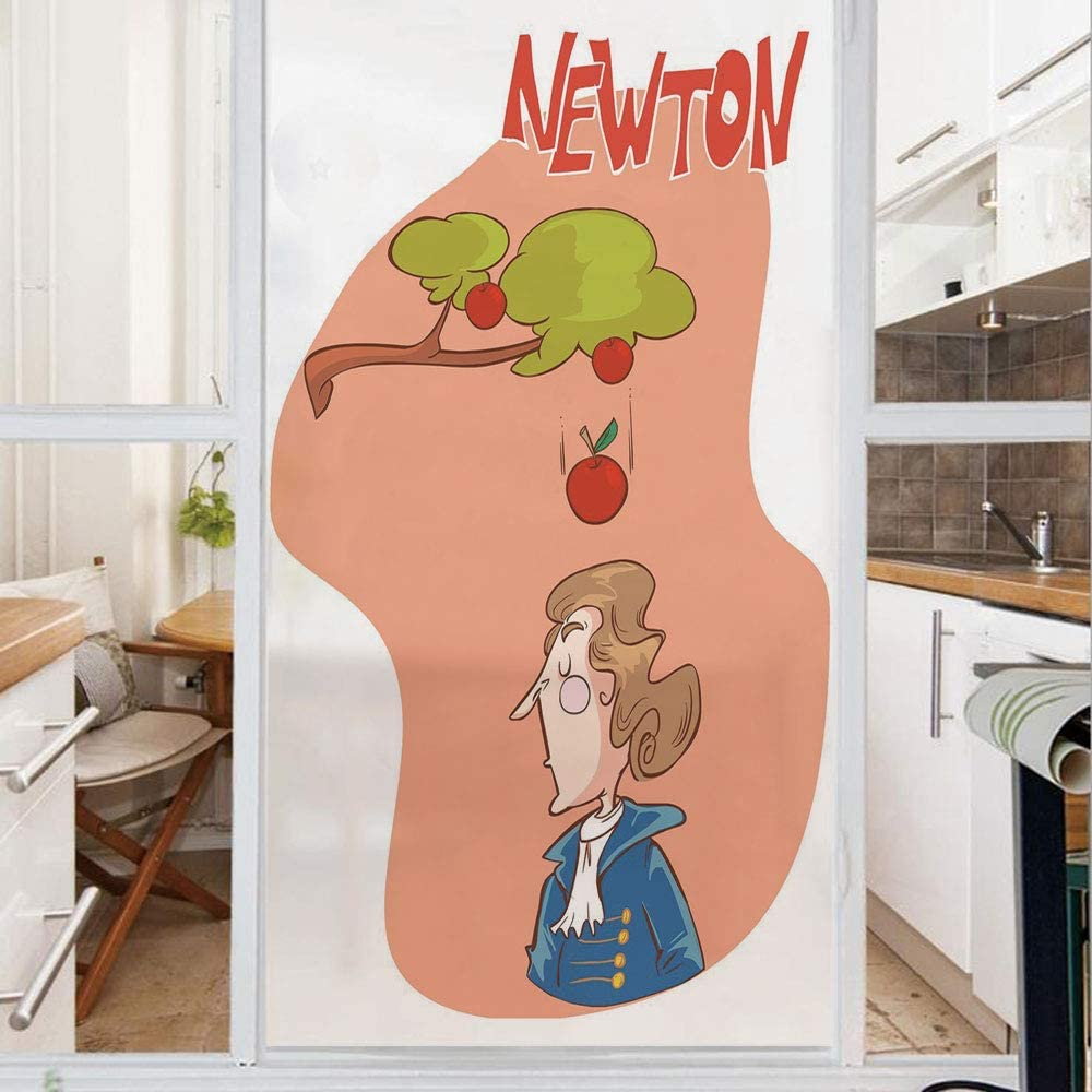 Decorative Window Film,No Glue Frosted Privacy Film,Stained Glass Door Film,Cute Isaac Newton Sitting Under an Apple Tree Revelation History Funny Cartoon Decorative,for Home & Office,23.6In. by 35.4I