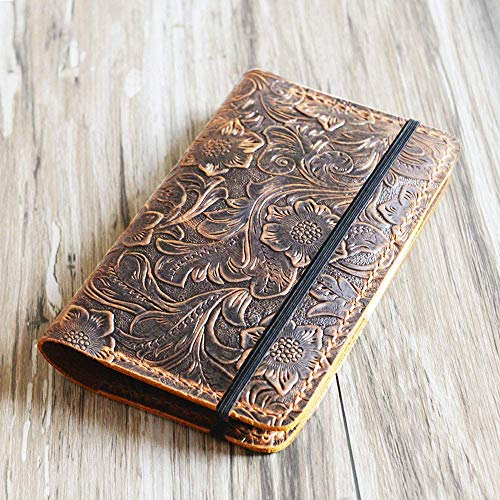 Genuine Tooled Leather cover for moleskine classic notebook Large size, leather notebook refillable 8x5 moleskine large (5 x 8.25) 305M