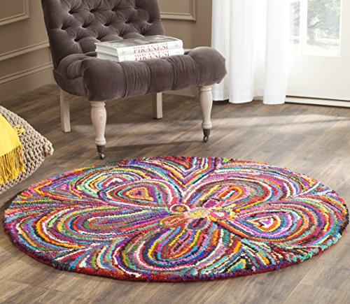 Rug Nantucket Round (Safavieh Nantucket Collection NAN445A Handmade Abstract Multicolored Cotton Round Area Rug (4' Diameter))