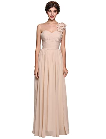 8c4c0ff4394 Image Unavailable. Image not available for. Color  Corgy Women A-Line  Princess Dress One-Shoulder Floor-Length Chiffon Bridesmaid Gown
