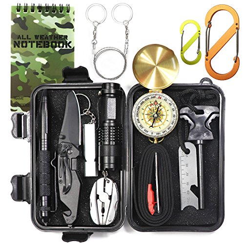 EILIKS Emergency Survival Gear Kits 14 in 1, Outdoor Emergency SOS Multi Professional Tools for Wilderness Hunting/Trip/Cars/Hiking/Camping gear