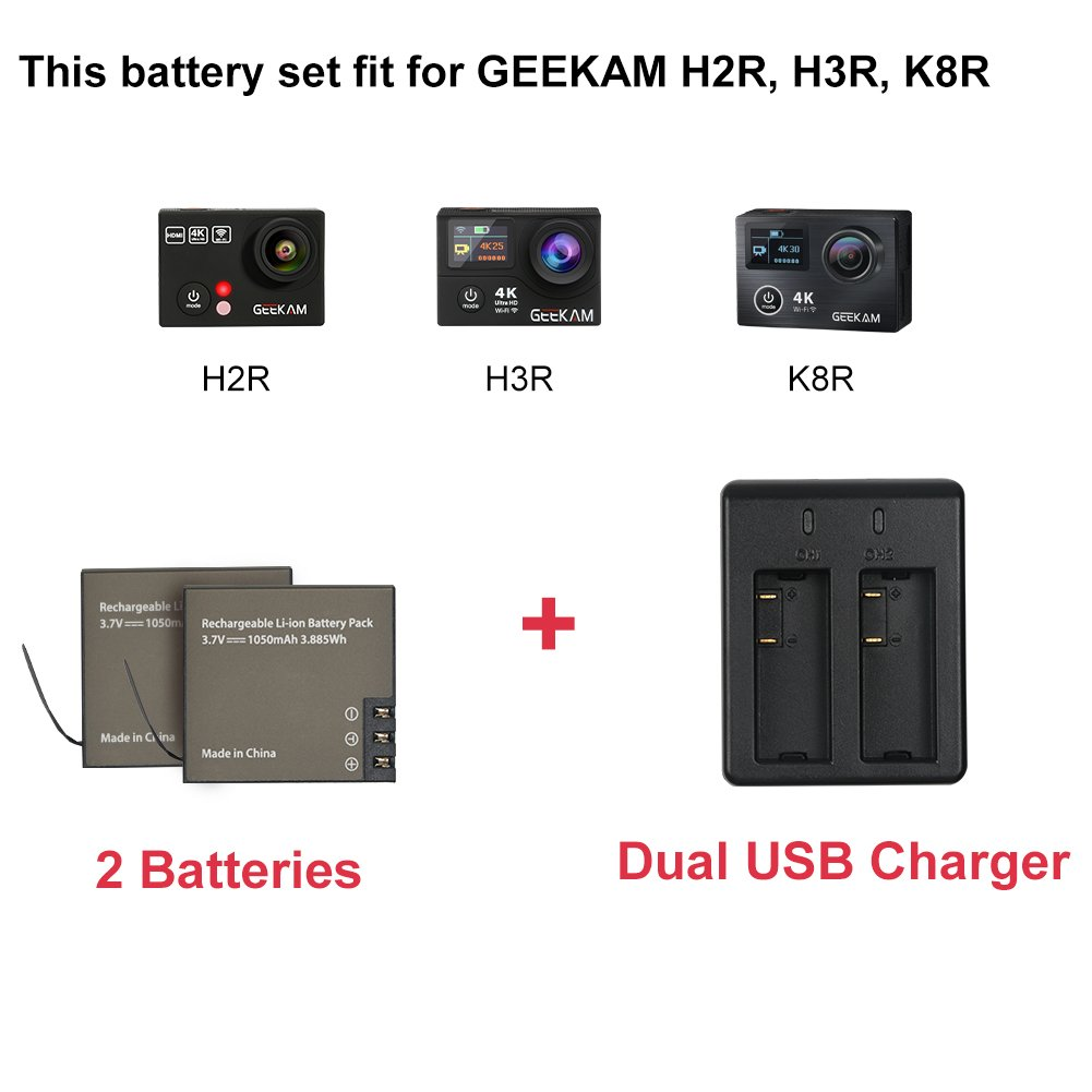 GEEKAM Sport 4K Action Camera Batteries + Dual Charger for K8R & H3R GEEKAM Action Cam Without USB Cable