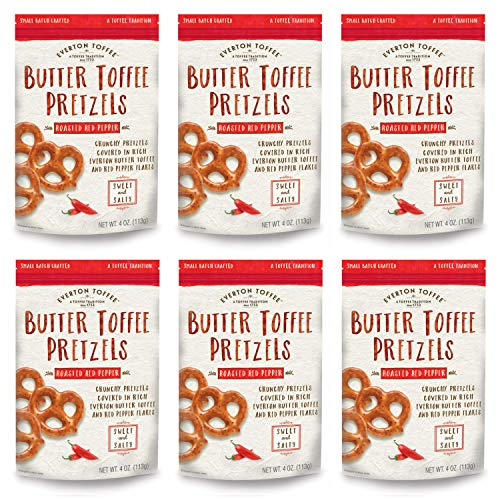 Everton Toffee Butter Toffee Pretzels, Roasted Red Pepper Flavor (4 oz. bag, 6-pack), Gourmet Artisan Toffee Covered Pretzels, Sweet and Salty Mini Pretzel Snacks, Small Batch Crafted (Pretzel Toffee)
