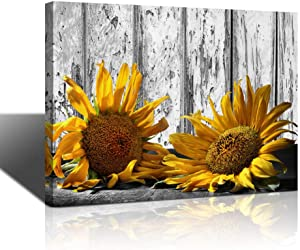 Canvas Wall Art Sunflower Dilapidated Planks Yellow Flowers Pictures Black and White Painting Framed Artwork for Bedroom Kitchen Dinning Room Living Room Office Home Decor One Panel Gallery Wrapped
