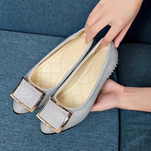 el Femenina y Zapato Zapatos Base Hembra Boca Pequeña Solo Cuero Puntos Rugosa Plana y Silver versátil Ese Qiqi Bajos para Superficial Xue Atar X7Zw71