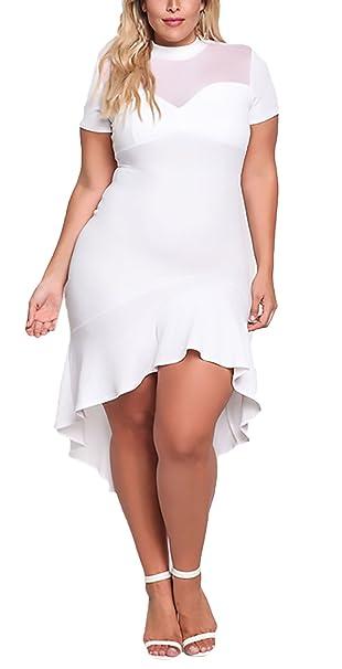 Vestidos Coctel Mujer Tallas Grandes Fashion Elegantes Irregular Asimétrica con Volantes Vestidos Niñas Ropa De Fiesta Manga Corta Cuello Redondo Hilado ...