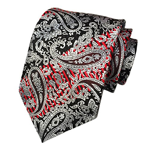 Secdtie Men Classic Paisley Silver Black Red Jacquard Woven Silk Tie Necktie - Black Silver Red