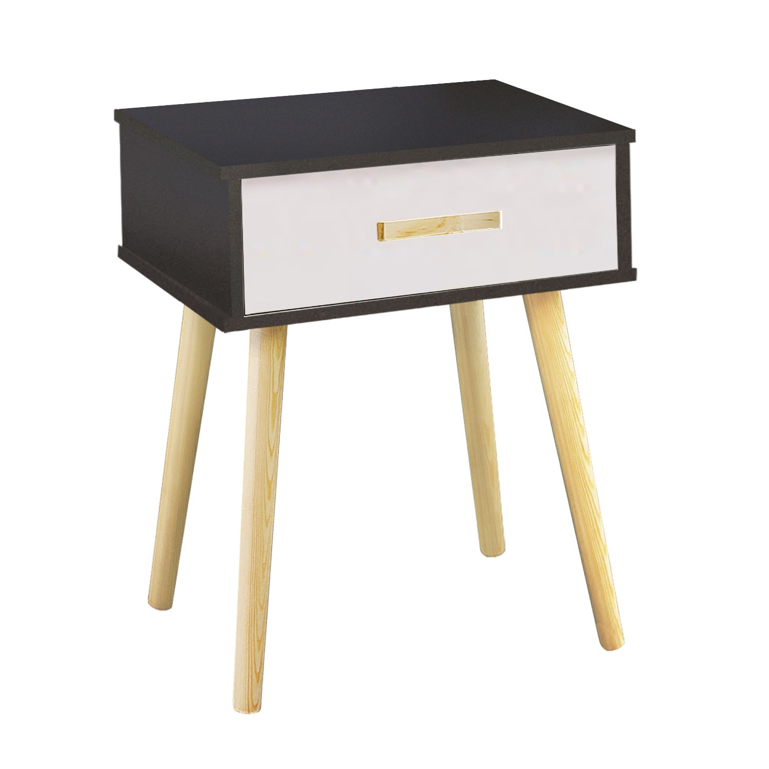 Navy & White With 1 Tier DL furniture Furniture004 Side End Nightstand Bedroom Livingroom Table Cabinet 2 Drawers   Natural Wood & White, Tiers