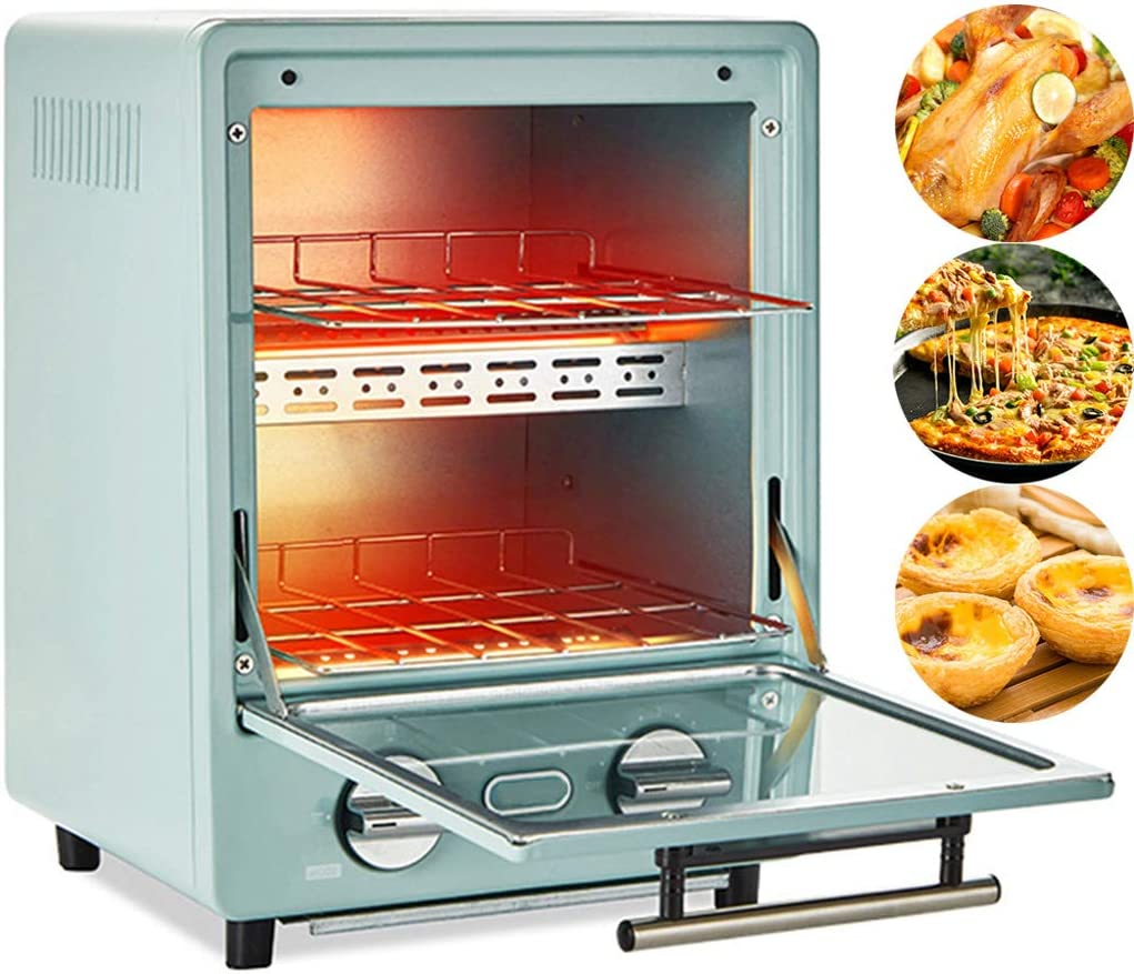 Electric Mini Oven, Smart Retro Toaster Oven, Countertop Convection Microwave Oven with Bake Pan And Rack, Multifunction Vintage Microwave Oven,Green