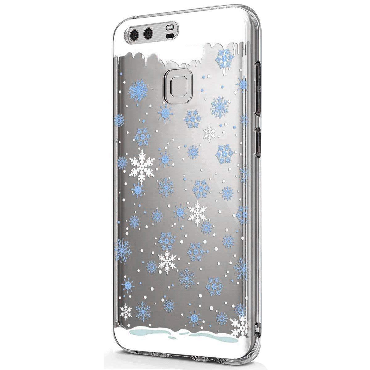 Clair Coque Huawei Mate 9, Coque Huawei Mate 9 Transparente, Huawei Mate 9 Etui en Silicone Extra Slim Lé ger Gel TPU Souple Etui Cré atif Noë l Christmas Flocon de Neige é lan Motif Okssud DYY2018002194#08