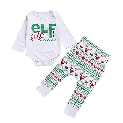 Newborn Baby Girl Boy Christmas Outfits Clothes Kids Romper Tops+Pants 2pcs  Set fa232472de2