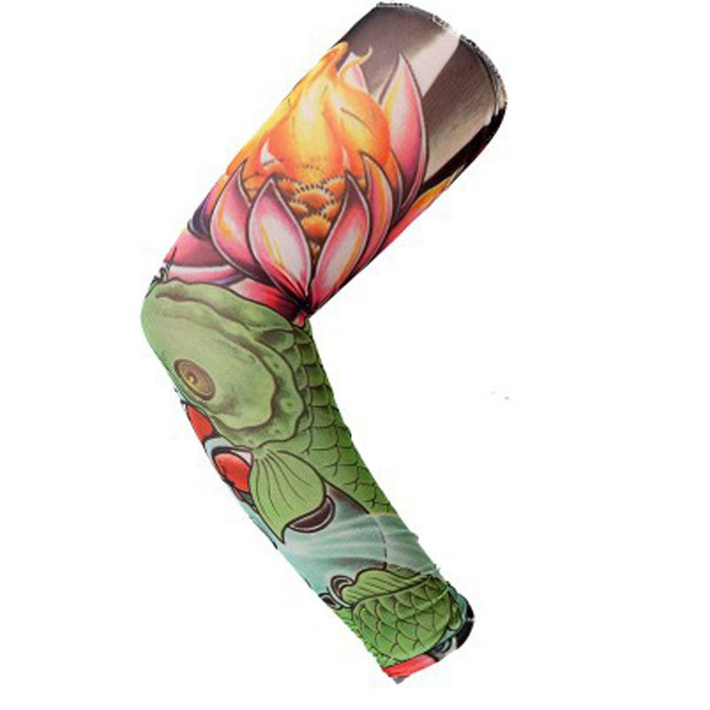 1Pc Nylon Elastic Temporary Tattoo Sleeve Body Arm Stockings UV Protection Tattoo Arm Sleeves for Men Tattoo Sleeves Cover up Full Sleeve - Running, Cycling (G)