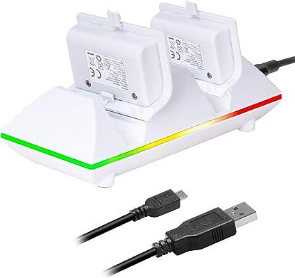 MoKo Baterías para Xbox One - Compatible Xbox One S/Xbox One Elite Controlador [Doble Estación/Base de Cargador] con 800mAh Battery Paquete Recargables, Blanco: Amazon.es: Electrónica