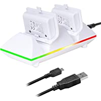 Moko Xbox One/One S Controller Charger Dock Kit 2 x 800mAh Rechargeable Battery Packs Charging Station for Xbox One One S One X Xbox One Elite Controllers - White