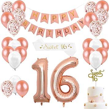 JOYMEMO Decoraciones de cumpleaños en Oro Rosa y Dulces 16 artículos de Fiesta para niñas, Adornos para Pasteles, Fajas de satén, Globos número 16, ...