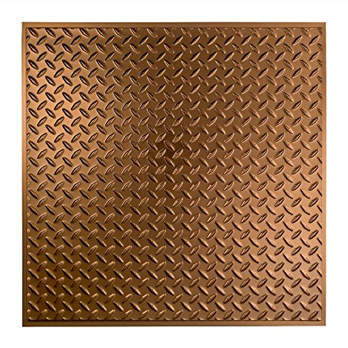 FASÄDE - Easy Installation Diamond Plate Revealed Edge Oil-Rubbed Bronze Lay In Ceiling Tile/Ceiling Panel (2' x 2' Tile) ()