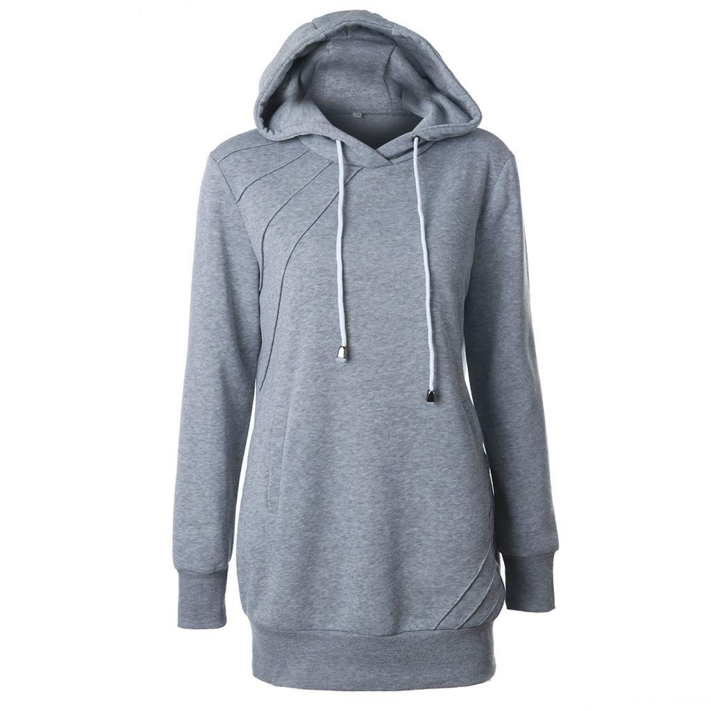 Dermanony Womens Long Sleeve Hooded Sweatshirt Solid Color Medium Length Drawstring Hooded Pullover with Pockets Gray by Dermanony _Blouses