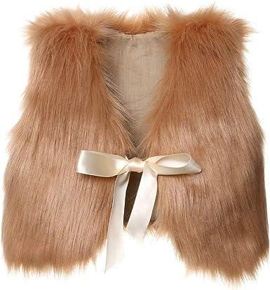 BAOSHI1 Kids Toddler Infant Baby Girl Faux Fur Vest Coat Fall Winter Spring Warm Waistcoat Outerwear