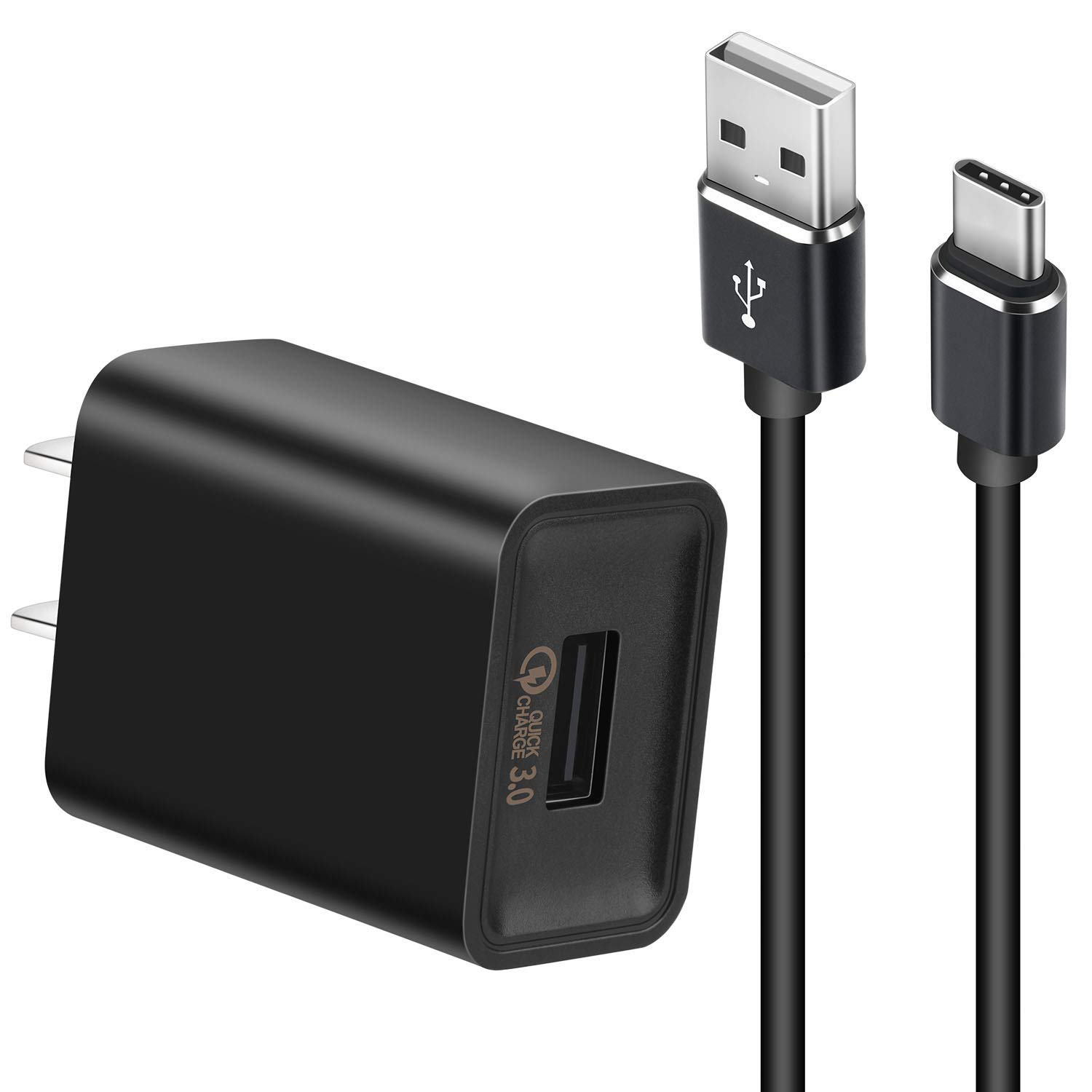 Quick Charger 3.0 USB Wall Charger +3.3ft USB C Cable 18W QC 3.0 Charger Quick Adapter Fast Charger for Samsung Galaxy S8 S8 Plus Note 8 S9 S9 Plus, Huawei P20/P20 Pro, LG G6 G5 V30 V20 (Black)