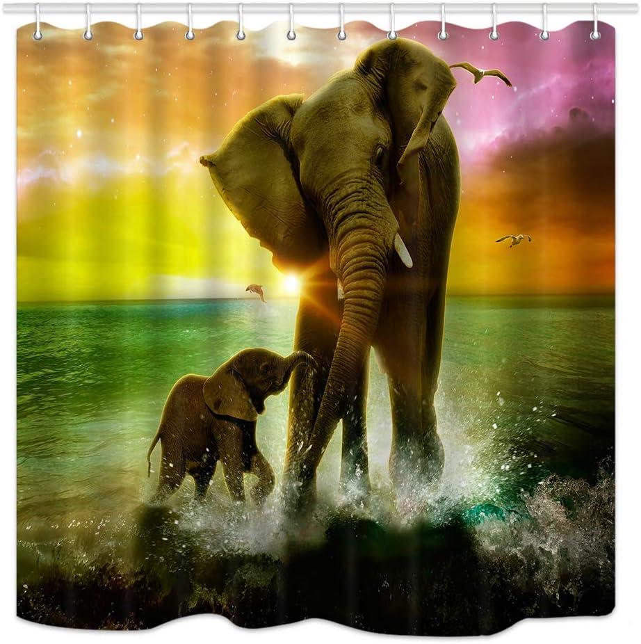 DYNH Animal Theme Shower Curtain, Safari Art, Africa Elephant and Baby Playing in Ocean at Sunrise, Fabric Bathroom Decor Bath Curtains Accessories