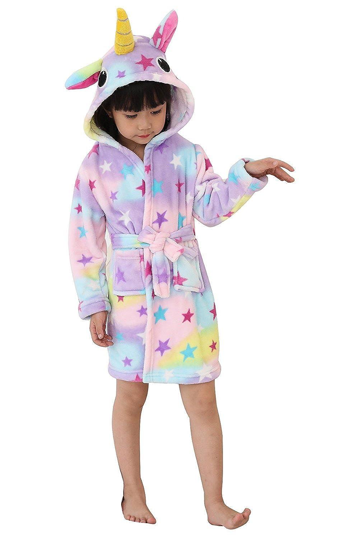 3f58cd0b69 Amazon.com  Toddler Rainbow Stars Unicorn Bath Robe Girls Boys Fleece  Hooded Bathrobe Kids Pajamas Children s Sleepwear Plush Kimono  Clothing