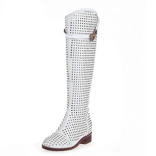 c1ecc8d81ce8a KingRover Women s Hollow Microfiber Over The Knee Buckle Strap Boots Shoes