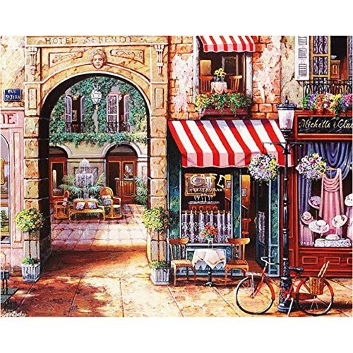 JUNSZYH DIY Oil Painting,Beautiful Striped Arch Bicycle Landscape,Oil Paint Painting by Numbers DIY Picture Drawing Coloring On Canvas Painting by Hand Wall Paint by Number,40X50Cm DIY Frame