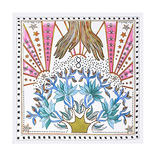 BEEYA Womens Abstract Style Tarot Pattern Silk Scarf for Hair Plant Print Square Neckerchief Headscarf 28x28 Inches ()