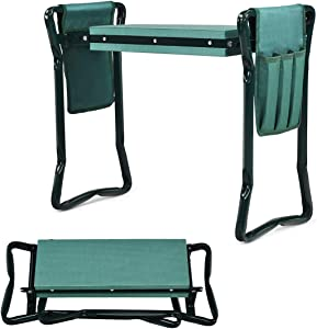 Goplus Foldable Garden Kneeler and Seat, Portable Garden Stool w/ 2 Bonus Tool Pouches and EVA Foam Pad