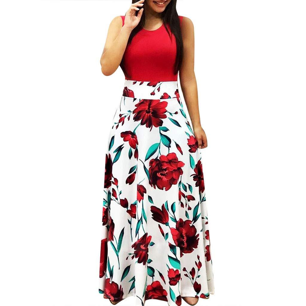 Vimoli Kleider Damen Sommer ärmelloses O-Ausschnitt Kleid Blumen bedrucktes Sommerkleid beiläufiges Schwingenkleid Boho Maxi-Kleid