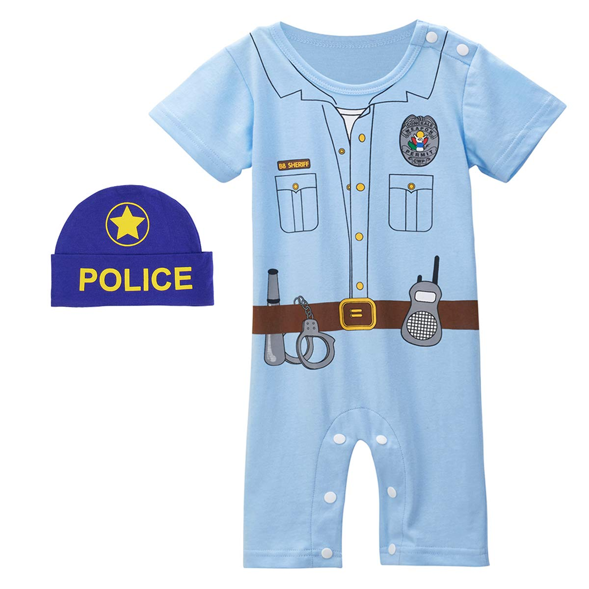 COSLAND Baby Boys Short Sleeve Police Romper with Hat