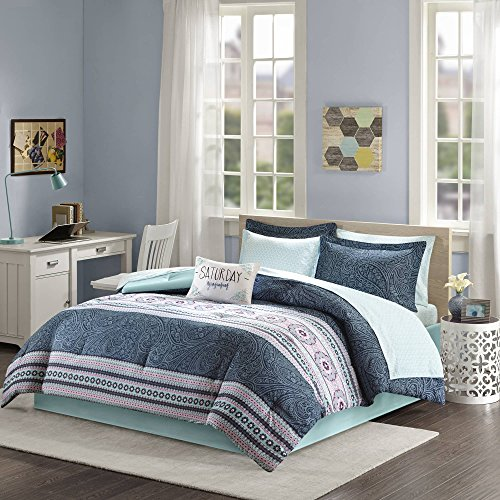 Teen Bedding For Girls Comforter Set Full Queen Twin Aqua Blue Pink Paisley  And Medallion Design Bed In A Bag Dorm Room Bedspread Bundle Includes Bonus  ...