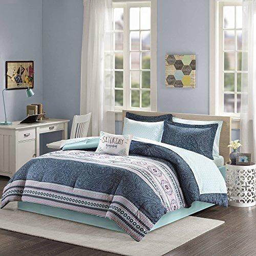 Teen Bedding for Girls Comforter Set Full Queen Twin Aqua Blue Pink Paisley and Medallion Design Bed In A Bag Dorm Room Bedspread Bundle Includes Bonus Sleep Mask from Designer Home (Full) (Set Blue For Bed Girls Full)