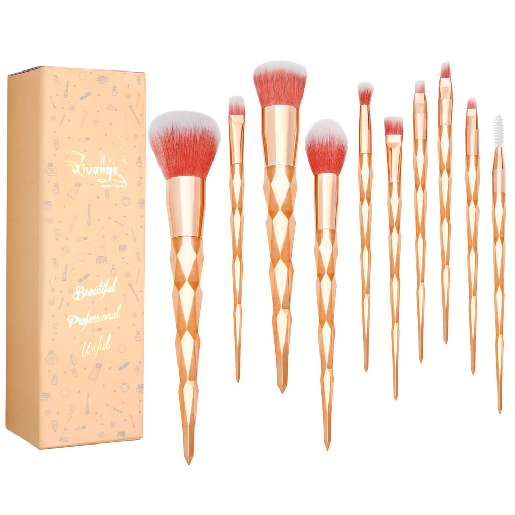 Qivange Unicorn Makeup Brush Set Gold Eyeshadow Brushes Kids Girls Christmas Birthday Gifts for Cosplay Party Face Cosmetic Foundation Make up