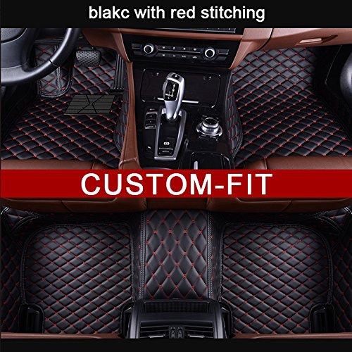 Veeleo Custom Made Car Floor Mats for Lincoln Continental Sedan 4-Door 2017-2018 Leather Waterproof 3D Carpets (black &red)