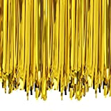 ANREONER 2 Pack Metallic Tinsel Curtain, 3.2 ft x 9.8 ft Foil Fringe Shiny Backdrop Photo Background for Birthday Party Prom Wedding Christmas Decoration, Best Xmas Supplies & Accessories-Gold