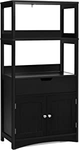Tangkula Bathroom Floor Cabinet with Drawer, 2 Open Shelves and Door Cupboard, Multipurpose Free Standing Storage Cabinet for Bathroom Kitchen Living Room, 24 x 13 x 48 inch (Black)