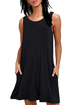 1ccad0c23f35 Zalalus Women's Summer Sleeveless Casual T-Shirt Swing Dresses with Pockets  at Amazon Women's Clothing store: