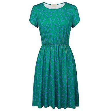 4589295b340 Short Sleeve Dress Elegant Women s O-Neck Animal ES 50s Style Rockabilly  Swing Robe at Amazon Women s Clothing store