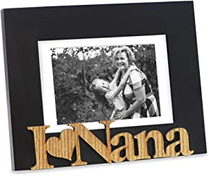 "Isaac Jacobs Black Wood Sentiments ""I Love Nana"" Picture Frame, 5x7 inch with Mat, Photo Gift for Nana, Grandma, Family, Display on Tabletop, Desk (Black, 5x7 (Matted 4x6))"