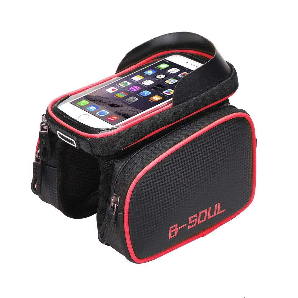 Color : Blue, Size : 17.5 * 12 * 3.5cm Yuqianqian Bike Handlebar Bag Waterproof Bicycle Frame Bike Phone Mount Bag With Mobile Phone Touch Screen Fits Phones Below 8 Inches