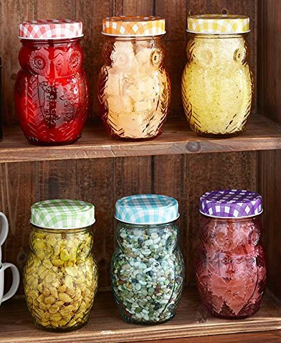 (Set of 6 Owl Jars Canisters Gingham Checkered Lids Colorful Glass Kitchen Decor Food Storage)