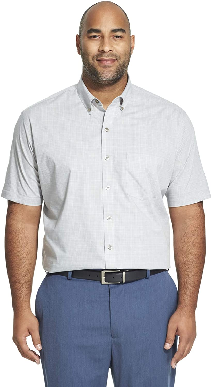 Van Heusen Mens Big and Tall Short Sleeve Button Down Plaid Shirt