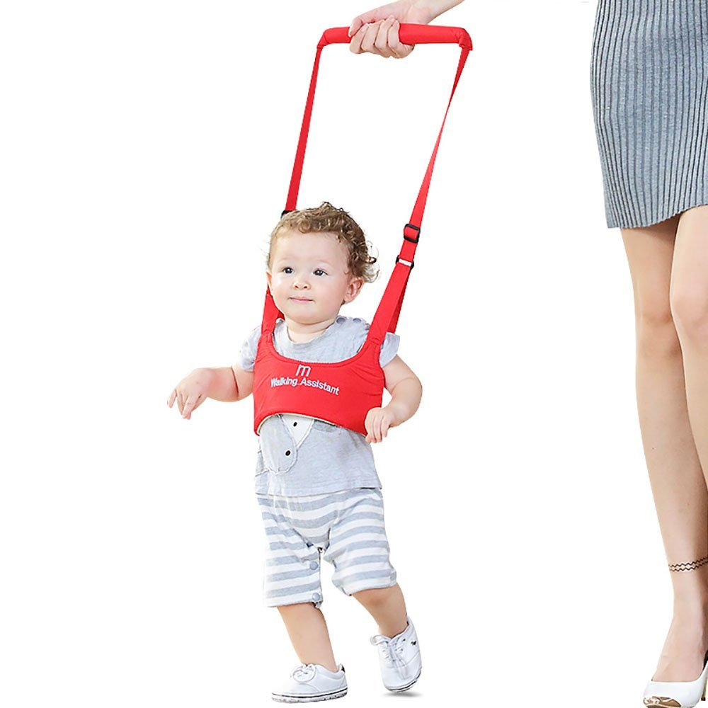 WOWOHE Red Handheld Baby Walker Toddler Walking Helper Kid Safe Walking Protective Belt Child Harnesses Learning Assistant