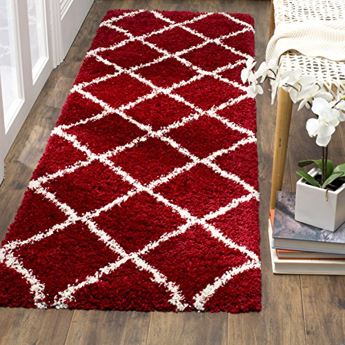 Safavieh Hudson Shag Collection SGH281R Red and Ivory Moroccan Diamond Trellis Runner (2'3