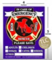 """PET FIRE Rescue Safety Alert Emergency Pet Dog Cat 4"""" x 5"""" Behind The Glass or Front of Surface Window Decal Cling Sticker"""