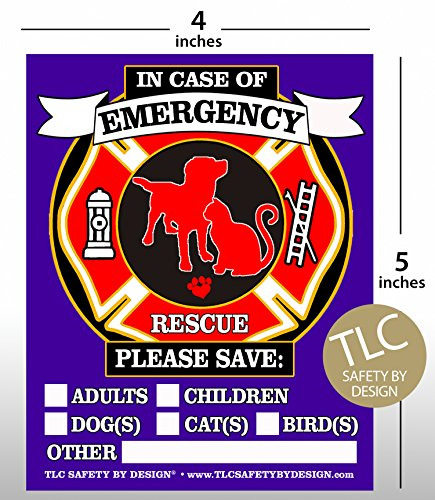 PET FIRE Rescue Trademarked Safety Alert Emergency Pet Dog Cat 4'' x 5'' Behind The Glass Front Surface Window Decal Cling Sticker (Qty. 4 Behind Glass) by TLC Safety By Design (Image #1)