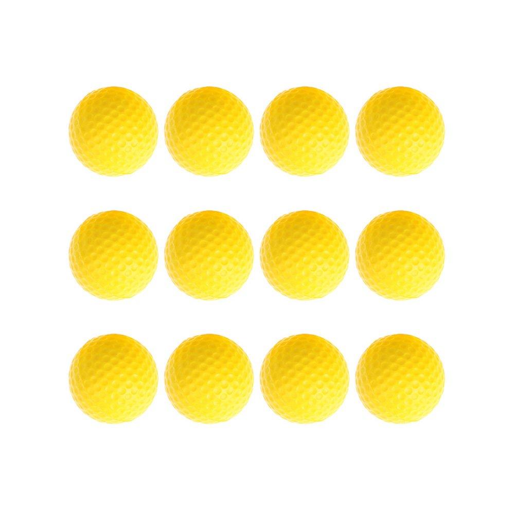 Greensun TM 12pcs /ロットベビーキッズおもちゃボールイエローPUフォームスポンジゴルフ練習ボールインドアアウトドア楽しいベビートレーニングPlaying Toyボール   B07DP7FTN8