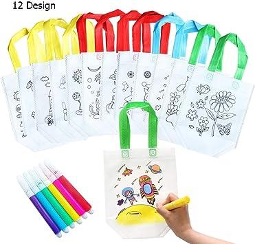 QYY 12 Bolsas para Colorear,DIY Estuches Infantiles para Colorear,12 Diferentes Diseño con 10 Ceras de Colores, Regalo niños Fiestas y cumpleaños: Amazon.es: Juguetes y juegos